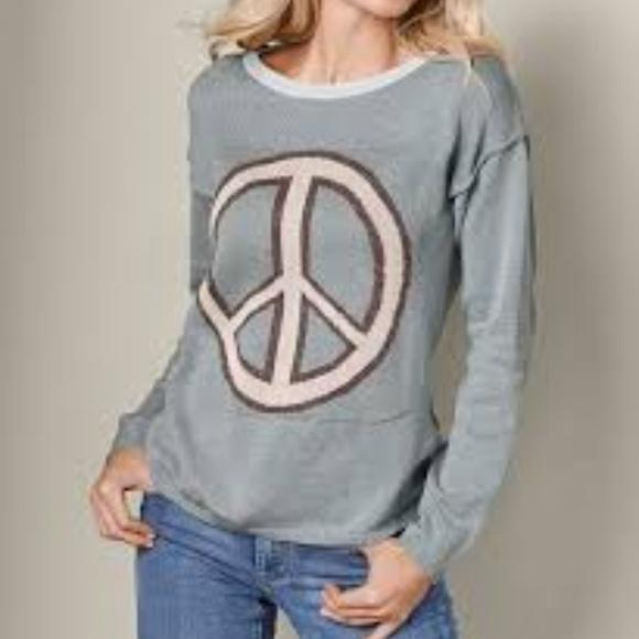 Venus Gray Metallic Peace Sign Sweater S